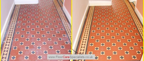 Victorian Floor Tile Cleaned and Sealed - www.FloorCareSpecialists.co.uk